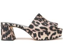 Woman Leopard-print Shell Sandals Animal Print