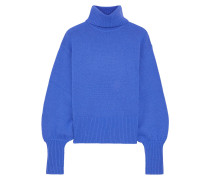 Woman Sloane Cropped Wool, Yak And Cashmere-blend Turtleneck Sweater Bright Blue