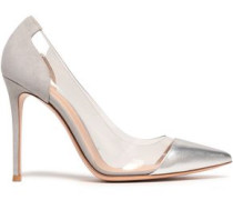 Metallic Leather, Suede And Pvc Pumps Silver