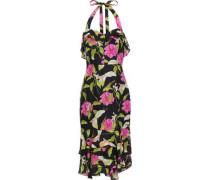 Ruffled Floral-print Silk-chiffon Halterneck Dress Multicolor