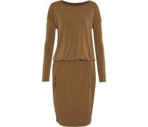 Wrap-effect draped stretch-crepe dress