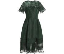 Net-paneled pleated duchesse silk-satin midi dress