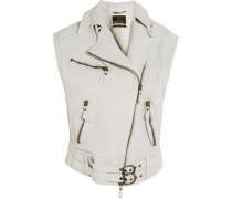 Oversized textured-leather vest