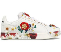 Embellished leather and neoprene sneakers