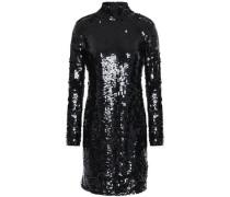 Jackie Open-back Sequined Tulle Mini Dress Black
