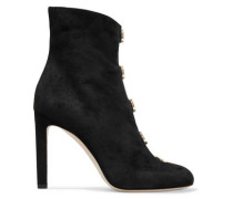 Button-detailed suede ankle boots