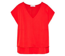 Stretch-silk Blouse Red