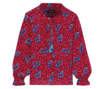 Ali Floral-print Washed-silk Blouse Red