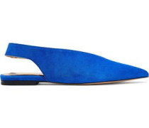 Karrigan Suede Slingback Point-toe Flats Bright Blue