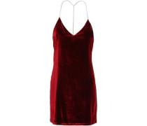 Woman Open-back Chain-embellished Stretch-velvet Mini Dress Claret