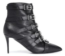 Buckled Textured-leather Ankle Boots Black