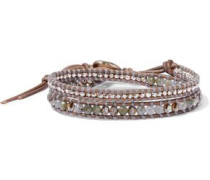 Sterling Silver, Leather, Swarovski Crystal And Labradorite Wrap Bracelet Brown Size --