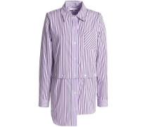 Fractured convertible striped cotton-poplin shirt