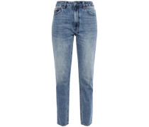 Faded High-rise Slim-leg Jeans Mid Denim