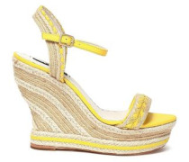 Leather-trimmed Jute Wedge Espadrille Sandals Pastel Yellow