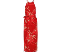Belted Printed Crepe De Chine Midi Dress Red