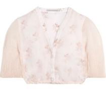Leslie cropped floral-print cotton and linen-blend gauze top