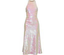 Open-back Sequined Tulle Midi Dress Pink Size 0