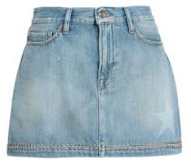 Studded Faded Denim Mini Skirt Light Denim  7