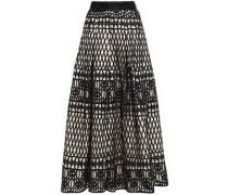 Layered Pleated Guipure Lace Midi Skirt Cream