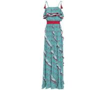 Ruffle-trimmed Printed Silk Crepe De Chine Maxi Dress Jade