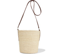 Woman Leather-trimmed Toquilla Straw Bucket Bag Neutral