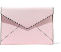 Leo Zip-embellished Textured-leather Envelope Clutch Baby Pink Size --