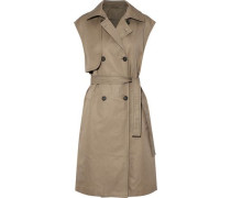 Double-breasted Belted Cotton-blend Gabardine Vest Sand