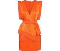Layered Belted Satin-paneled Cady Mini Dress Orange