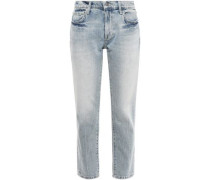 Cropped Faded Mid-rise Straight-leg Jeans Light Denim  4