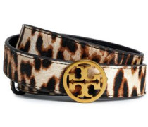 Leopard-print leather belt