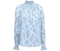 Metallic Fil Coupé Silk-blend Blouse Sky Blue