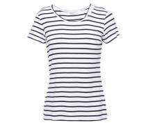 Woman Cutout Striped Jersey T-shirt White