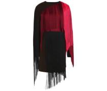 Layered fringed wool-blend mini dress