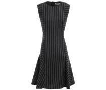 Woman Flared Pinstriped Crepe Mini Dress Black