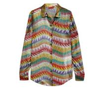 Metallic crochet-knit silk-blend shirt
