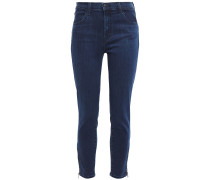 Woman Cropped High-rise Slim-leg Jeans Mid Denim