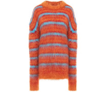 Woman Striped Brushed Mohair-blend Sweater Orange