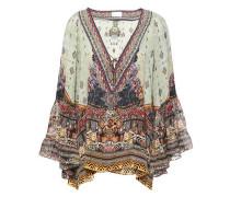 Woman The Caravan Printed Silk Crepe De Chine And Chiffon Blouse Multicolor