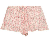 River Ruffle-trimmed Printed Voile Shorts Coral  /M
