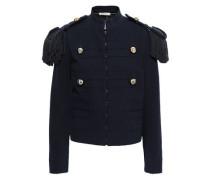 Fringed Cotton-blend Jacket Navy