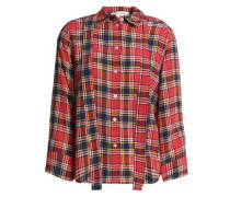 Pussy-bow checked silk crepe de chine shirt