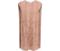 Cape-effect Printed Stretch-knit Mini Dress Sand