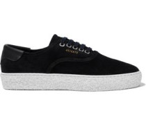Woman Leather-trimmed Suede Sneakers Black