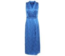 Woman Katherine Wrap-effect Printed Silk-satin Midi Dress Cobalt Blue