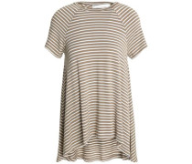 Draped mélange stretch-jersey T-shirt