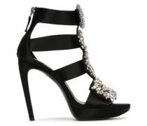 Crystal-embellished Satin Platform Sandals Black
