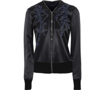 Preeya embellished wool-paneled silk-satin jacket