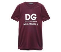 Printed Cotton-jersey T-shirt Burgundy