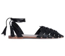 Mina Tasseled Braided Leather Sandals Black